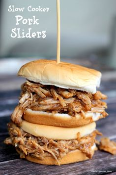 Feed a crowd or a hungry family with these slow cooker pulled pork sliders. Slow cooked for hours in a sweet and tangy sauce, this tender pulled pork is full of flavor.