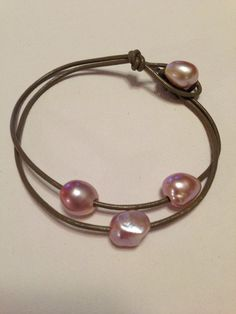Genuine Leather & Freshwater Baroque Pearl by LeatherNPearl, $15.00