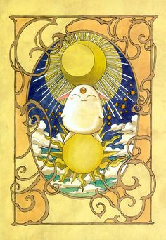 Tags: Anime, CLAMP, Sun, Magic Knight Rayearth, Art Nouveau, Mokona Modoki, Peaceful