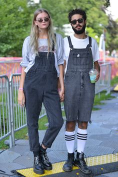 dungarees in short and long worn by attendees of a music festival in Sweden #dungarees