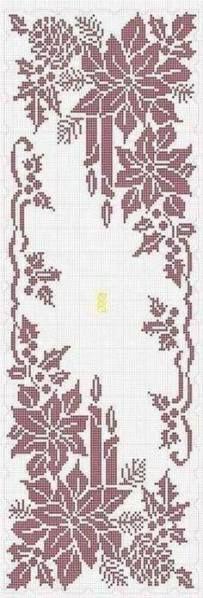 Ideas for crochet table runner chart cross stitch Xmas Cross Stitch, Cross Stitch Charts, Cross Stitch Designs, Cross Stitching, Cross Stitch Embroidery, Cross Stitch Patterns, Crochet Patterns, Crochet Ideas, Knitting Patterns