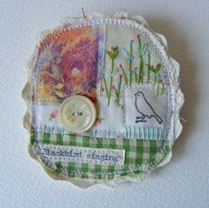 Handmade fiber Textile collage Brooch ... sweet vintage Dog and hand embroidered…
