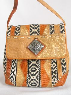 SHARIF Ethnic Cross Body Bag Mix Media Embossed Leathers Woven Cotton made  in USA Hipster Boho Shoulder bag excellent vintage condition 2aa19f4a4b12e