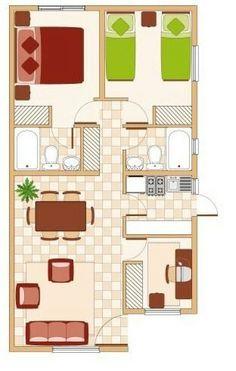 Planos de departamentos peque os de 70m2 a 80m2 planos for Apartment design 70m2