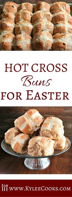 Hot sticky buns, fresh from the oven, studded with fruitand spice, with a cute little cross on top, these buns are traditionally eaten on Good Friday, but are so good, you'll want to make them more often! #easter #buns #hotcrossbuns via @kyleecooks