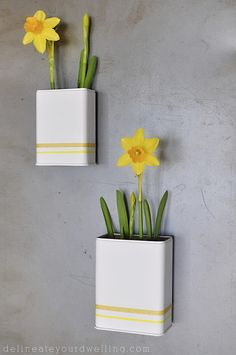 Magnetic DIY Daffodil Planters.  Turn old Spice containers into mini planters!  So easy and really adorable craft.  Delineateyourdwelling.com