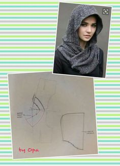 Interesting hood, with a partial pattern, in Russian - Salvabrani Clothing Patterns, Dress Patterns, Sewing Patterns, Fashion Pattern, Sewing School, Hooded Scarf, Sewing Lessons, Creation Couture, Sewing Studio