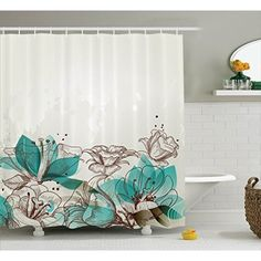 Ambesonne Turquoise Decor Shower Curtain Set, Retro Floral Background with Hibiscus Silhouettes Dramatic Romantic Nature Art, Bathroom Accessories, 75 Inches Long, Beige Teal Bathroom Shower Curtain Sets, Bathroom Decor Signs, Flower Shower Curtain, Fabric Shower Curtains, Bathroom Ideas, Turquoise Bathroom Accessories, Hookless Shower Curtain, Romantic Nature, Retro Floral