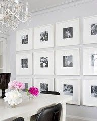 A great way to display black and white photographs with a small photo, large mat, and white frame.