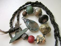 This Very Old Stage - primitive long assemblage verdigris teal green chrysocolla, red glass African trade bead, wood, hemp macrame necklace