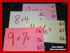 Self-Checking Center Game for the Hardest, Last, Fearsome 15 Multiplication Facts! #TeachersFollowTeachers #FernSmithsClassroomIdeas
