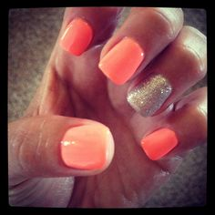 orange and glitter nails for summer!