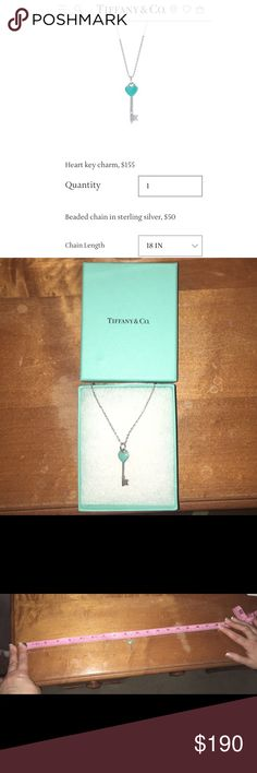 """Tiffany Heart Key Charm Necklace Come with 18"""" sterling silver chain and box. Excellent condition, never been worn. Tiffany & Co. Jewelry Necklaces"""