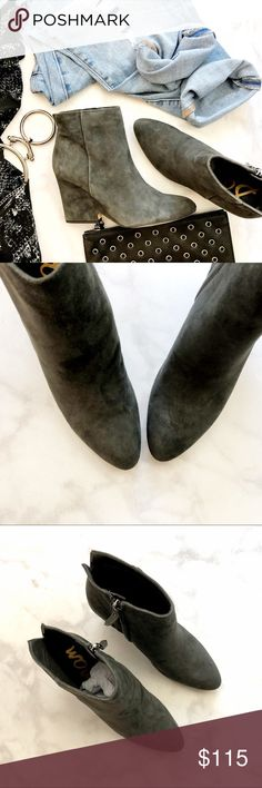 """Sam Edelman Gray Suede Booties Details: * Size 6.5 * Gray suede * Almond toe * Side zip * 3.25"""" notched wedge heel * New in box Sam Edelman Shoes Ankle Boots & Booties"""