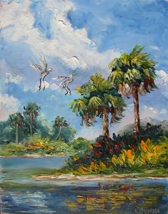 Daily Painting 1419 Incoming Florida Egret oil painting, original painting by artist Lori McNamara   DailyPainters.com