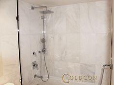 White tile marble bathroom shower