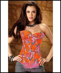 e2a8111642 Floral Print Orange Denim Corset Overbust Bustier Sexy Cheap Corsets
