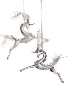 Art Deco Unicorn Ornaments - Set of 2 at ShopPlasticland.com