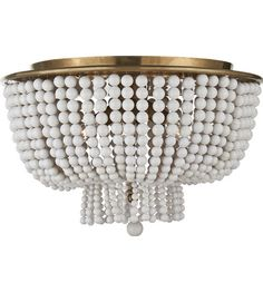 Visual Comfort ARN 4102HAB-WG AERIN Traditional Jacqueline Flush Mount in Hand-Rubbed Antique Brass with White Acrylic