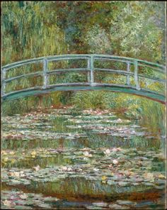 Bridge over a Pond of Water Lilies, by Claude Monet, French impressionist oil painting. In the summer of 1899 Monet completed 12 canvases of the wooden footbridge over the lily pond at Giverny , Claude Monet, Monet Paintings, Landscape Paintings, Famous Art Paintings, Famous Artwork, French Paintings, European Paintings, French Artwork, Original Paintings
