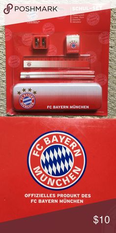 New Bayern Munich soccer team school set New FC Bayern München (Munich) school set: - pencil sharpener - eraser - ruler (in European centimeters/cm 😀) - 2 pencils - one pencil case (metal tin) FC Bayern München Other