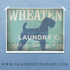 Wheaten Terrier laundry company laundry room by geministudio, $44.00