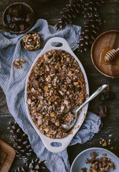 A Vegan baked oatmeal recipe flavored and enhanced with Date Butter, Apples and Walnuts I no refined sugars