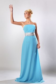Spring Colors Blue Sheath Column Strapless Floor length bridesmaid dress