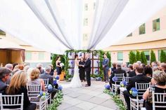 """The couple's """"nautical-themed"""" wedding. The colors are so beautiful!"""