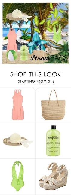 """Green green green!!! Straw Bags"" by anna-de ❤ liked on Polyvore featuring Target, philosophy and Lazul"