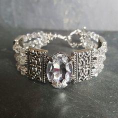 Triple Strand Crystal and Rhinestone Bridal Cocktail Bracelet