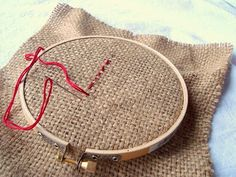 embroidering with children--the first step with burlap--this is how we do it at around 3-4 years old