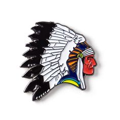 Indian Chief Head Enamel Lapel Pin 8.95$ Perfect Accessory for Jackets, Hats, and Bags!