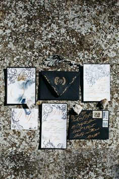 For our style shoot in Tuscany, Italy, Crimson Letters created a fine, intricate lace design, focusing on monochromatic tones and finishing the hand painted wedding invitations off with fine gold calligraphy, for the perfect Italian style wedding invitations.