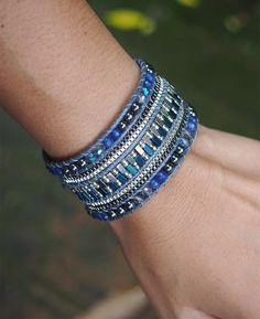 Dark blue mix Cuff Bracelet with Chain, Statement bracelet by G2Fdesign on Etsy