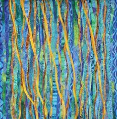 Currents # 11 by Carol Larson art quilt aqua teal turquoise