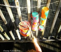 Tin Can Backyard Band ~ Kda paint old cans, modge podge them to seal, then hang em for little ones to bang on!