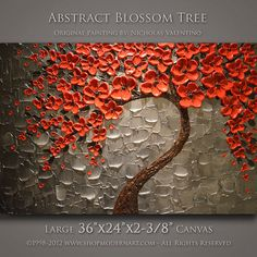 """Large 36""""x24""""x2-3/8"""" Original Blossom Tree Painting Palette Knife Impasto Textured Gallery Canvas - Wired Ready to Hang FAST FREE SHIPPING"""