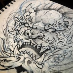 Up coming design for Thursday Body Art Tattoos, Hand Tattoos, Sleeve Tattoos, Lion Hand Tattoo, Japanese Tattoo Art, Japanese Tattoo Designs, Tattoo Sketches, Tattoo Drawings, Foo Dog Tattoo Design