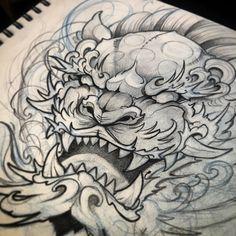 Up coming design for Thursday Tattoo Sketches, Tattoo Drawings, Body Art Tattoos, Hand Tattoos, Sleeve Tattoos, Japanese Tattoo Art, Japanese Tattoo Designs, Foo Dog Tattoo Design, Fu Dog