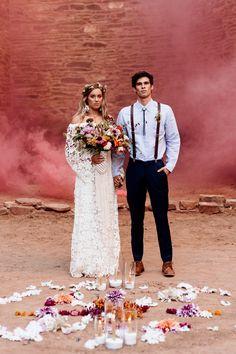 Macrame Wedding - Bouquet Wrap, Smoke Bomb #bohemian #modernmacrame Quarai Ruins, New Mexico
