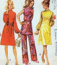 "Vintage 70s DRESS Tunic & Pants Sewing Pattern Bust 34"" Size 10 EVENING Retro"
