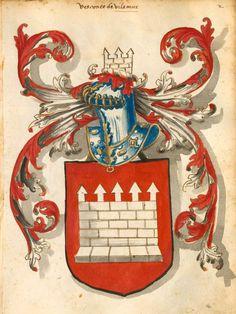 «Armas de los Condes, Vescondes etc. de Cataluña, de Castilla, de Portugal», [S.l.] Spanien, um 1440-1550 [BSB-Hss Cod.icon. 290] -- f°2r (=Bildnr.17): Vesconte de Vilamur.