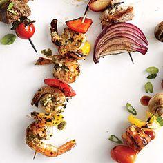 Pesto Shrimp Kebabs | Cooking Light #myplate #protein #veggies