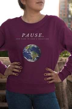 Pause and take in Gods creation for what he has created is unbelievable. Every little detail is perfect and sometimes we just need to admire what he has done. Choose from different colors and sizes and buy now to get one for yourself or as a gift for someone who loves God's creation. Shop Now! Christian Apparel, Christian Clothing, Christian Shirts, Gods Creation, Get One, Be Perfect, Are You The One, Buy Now, Shop Now