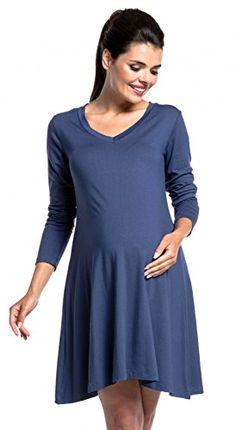 344e6a1affa59 Maternity Fashion Wear · Maternity Dresses Long Sleeves · Zeta Ville Womens  pregnancy swing dress vneck long sleeve maternity 658c Blue Grey US 68 M