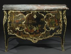 Louis XV ormolu-mounted Chinese lacquer commode circa 1745, stamped P. Roussel   Pierre Roussel (c.1723-1782), maître in 1745 height 34 in.; width 53 in.; depth 26 in. 86.5 cm; 135 cm; 66.5 cm