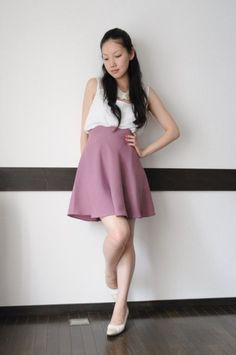 Scalloped waist half circle skirt