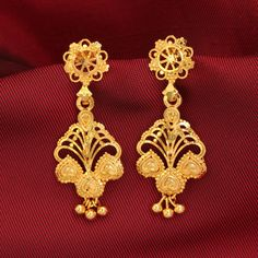 Gold Plated Floral Indian Traditional Jhumka Jhumki Bollywood Jewelry Earrings #DesaiJewellers #DropDangle