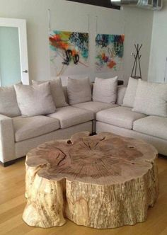 Organic wood stump coffee table by Vanillawood. table, wood edge Great Natural solution for a Coffee Table. Would hate to try and move it for cleaning. Deco Design, Wood Design, Decoration Design, Design Design, House Design, Wood Stumps, Tree Stumps, Deco Originale, Log Furniture